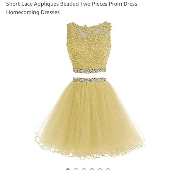two piece short two piece yellow homecoming dresses